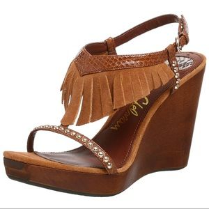 Sam Edelman Brown Justine Fringe Wedges - Size 8.5
